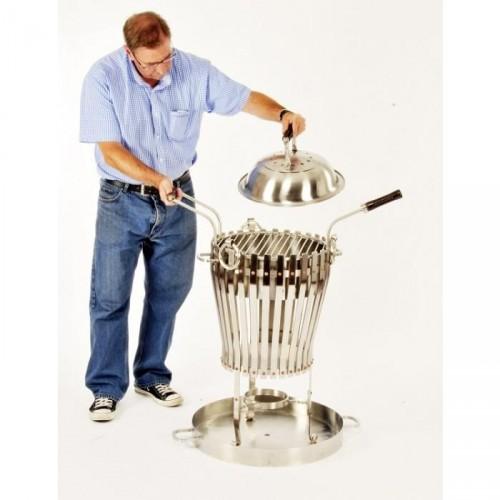 """Deluxe Vulcan"" Log burner & BBQ in Stainless Steel"