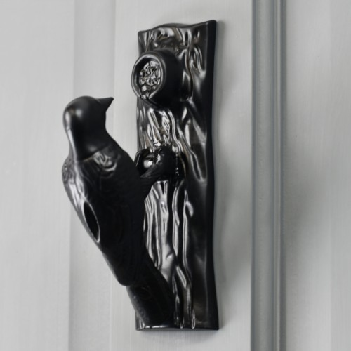 Black Woodpecker door knocker on Grey door