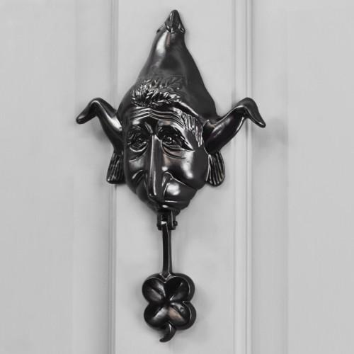 Black Elf Door knocker on Grey front door
