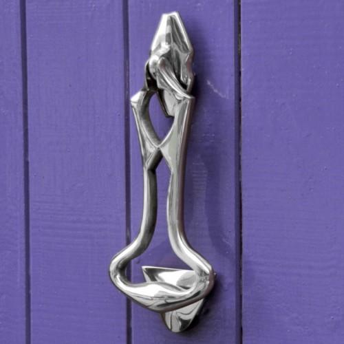 Bright Chrome Art Deco Door Knocker on Purple door