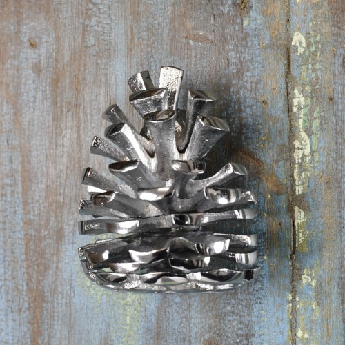 Bright Chrome Pine Cone door Knocker on Rustic door
