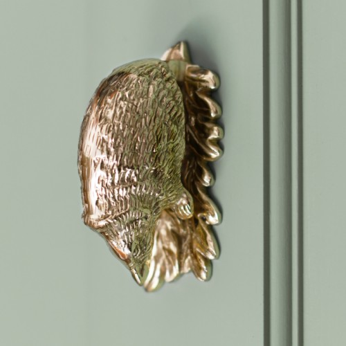 Polished Brass quirky hedgehog door knocker on pale green front door.
