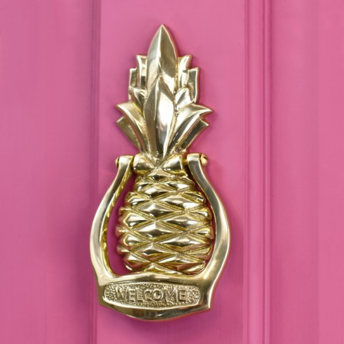 Brass Pineapple door knocker on pink door