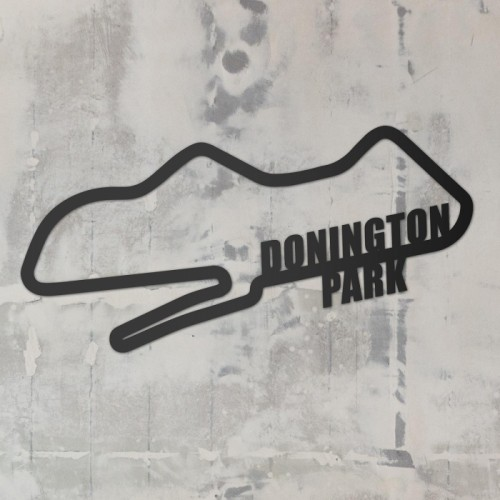 Donington Park Racing Circuit Wall Art on a Rustic Grey Wall