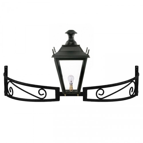 Black Dorchester Lantern On a Bow Bracket