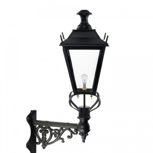 Black Dorchester Lantern on an Ornate Corner bracket