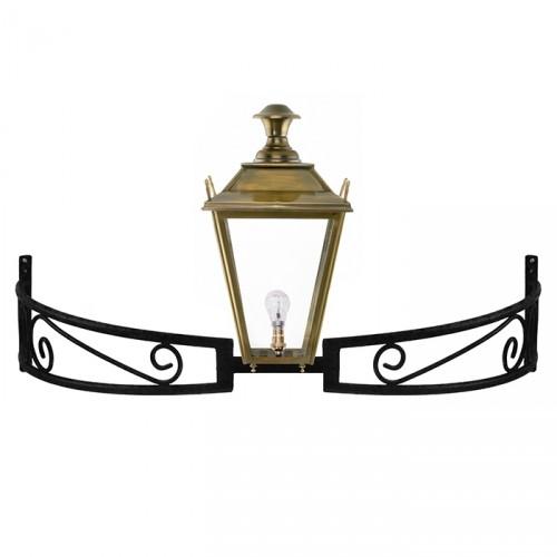 Antique Brass Dorchester Lantern On a Bow Bracket