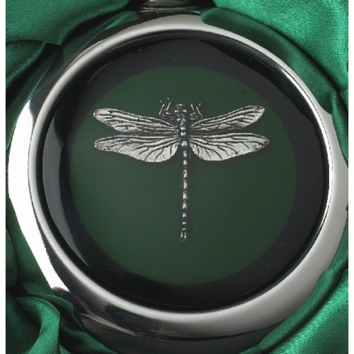 Close-up of the Dragonfly Design on the Whiskey Flask