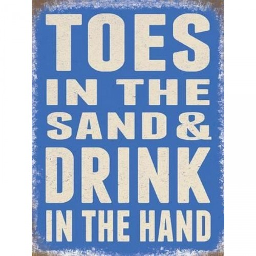 """""""Toes in Sand"""" Metal Sign"""
