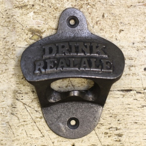 "Iron Bottle Opener With ""Drink Real Ale"" Design"