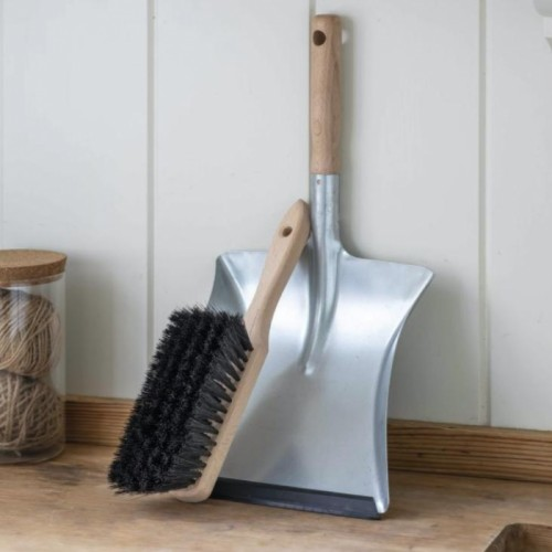 Galvanised Steel & Wood Dustpan with Brush