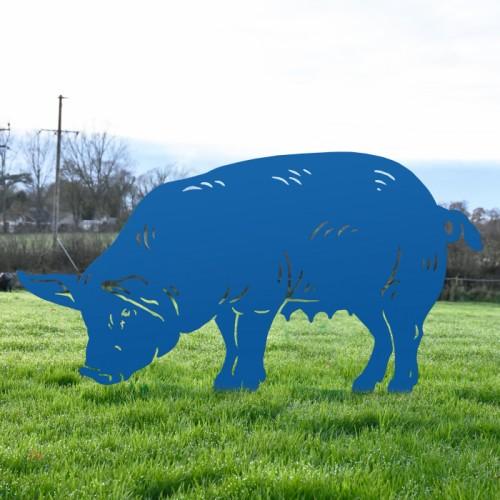 Blue Female Pig Silhouette