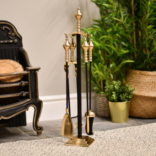 """Trafalgar"" Fireside Companion Set Finished In Black & Brass"
