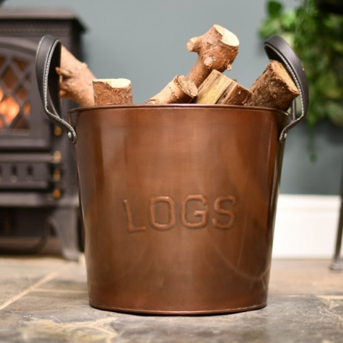 Bronze finish round log bucket
