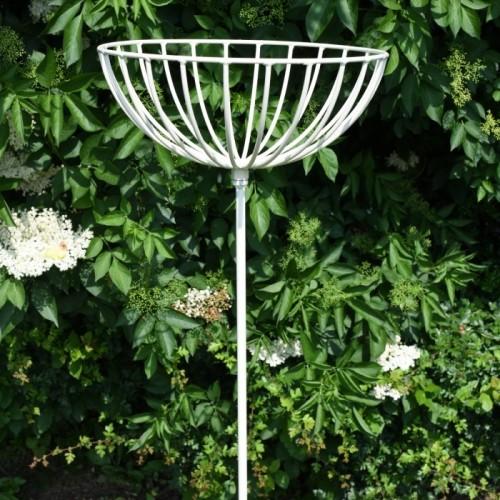 Flower Basket on Spike Finished in Cream