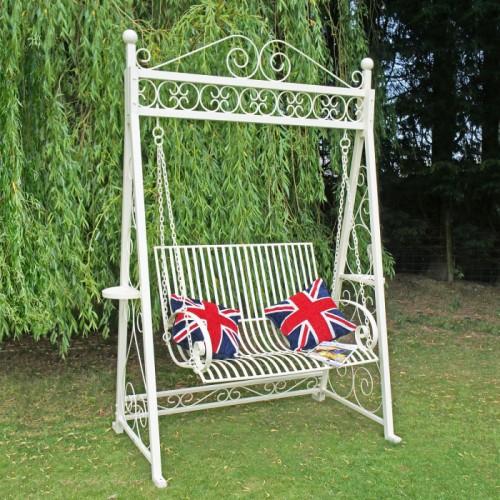 Briar Rose garden swing seat finished in Cream