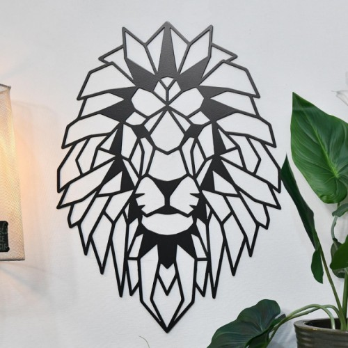 Geometric Lion Steel Wall Art in Situ in the Living Room