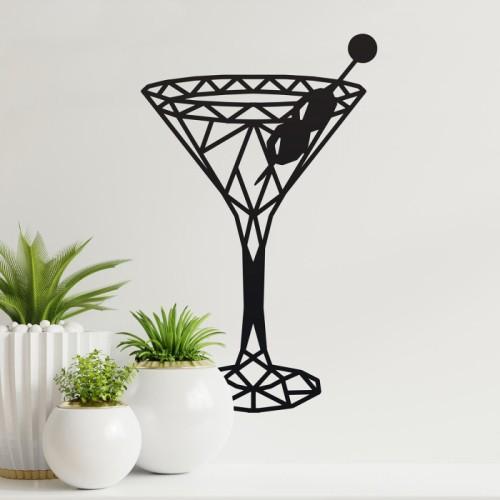 Geometric Steel Martini Glass Wall Art on a Cream Wall