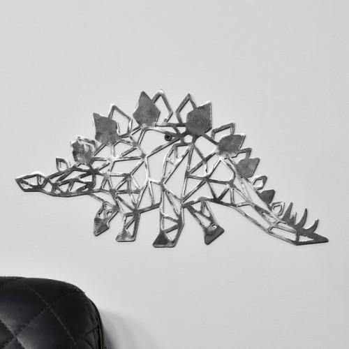 Geometric Natural Steel Stegosaurus Wall Art  in situ