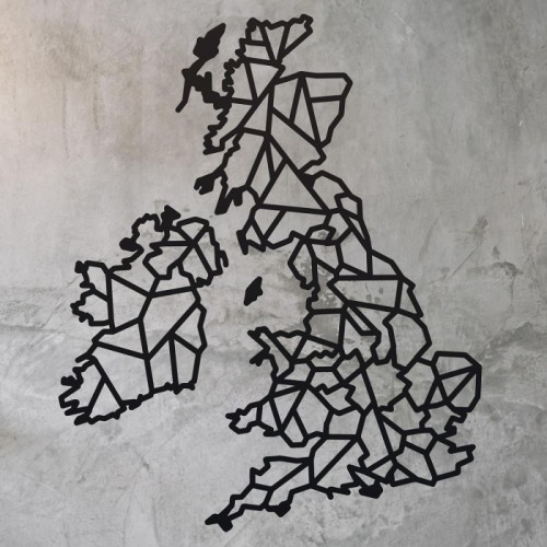 United Kingdom Geometric Steel Map Art on a Rustic Wall