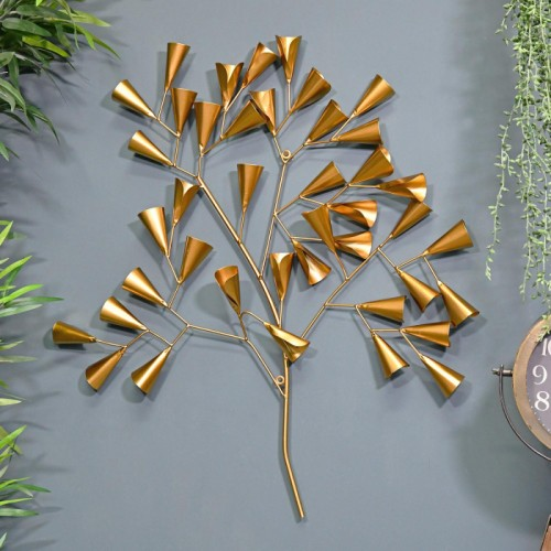 Gold Cone Tree Wall Art in Situ on a Blue Wall