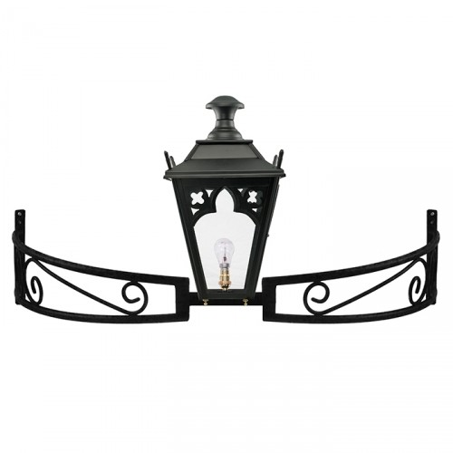 Black Gothic Lantern On a Bow Bracket