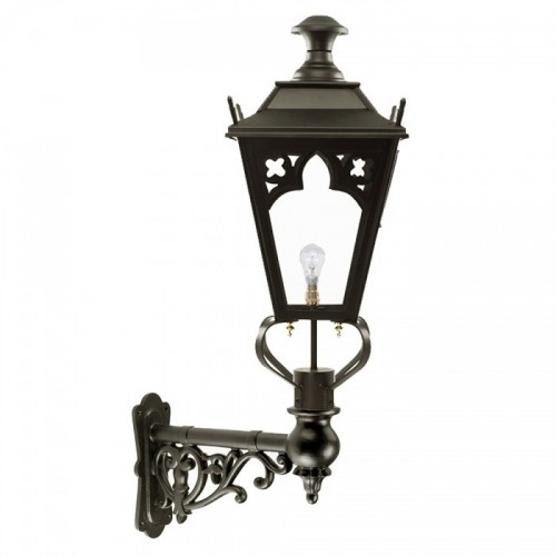 Black Gothic Wall Lantern on an Ornate Capella Bracket