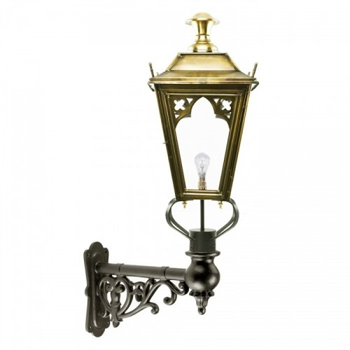 Brass Gothic Style Lantern on a Capella Wall Bracket