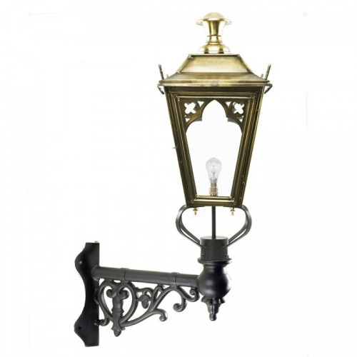 Brass Gothic Lantern on an Ornate Corner Bracket
