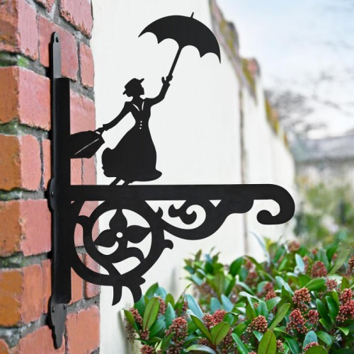 Ornate Mary Poppins Hanging Basket Bracket in Situ in the Garden