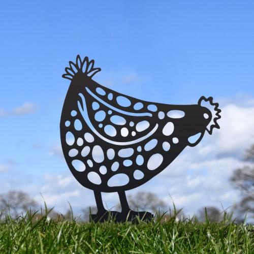 Black Pecking Hen Silhouette