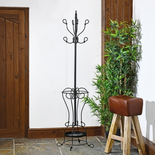 """Black """"Parker"""" Hat & Coat Stand in Use"""