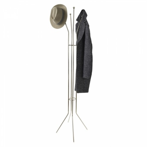 Contemporary Steel Hat and Coat Stand with Ball Finial