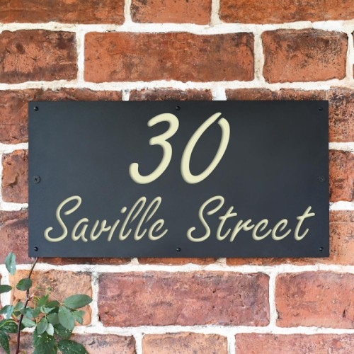 """Saville"" House Sign Finished in Cream"