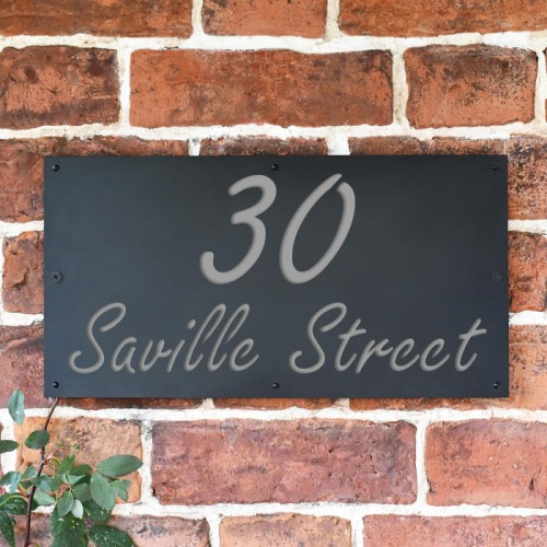 """Saville"" House Sign Finished in a Light Grey"