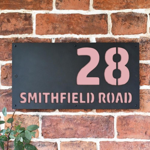 """Smithfield"" House Sign Finished in a Light Pink"