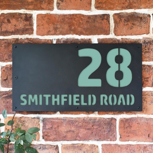 """Smithfield"" House Sign Finished in a Pastel Turquoise"