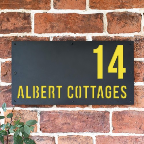 """""""Albert"""" House Sign Finished in Zinc Yellow"""