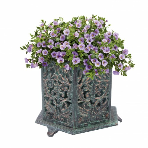 Vintage style damask planter with flowers