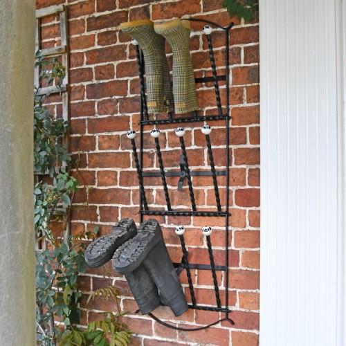 'Edcote' Black Wall Mounted 6 Pair Boot Rack