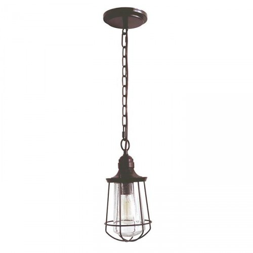 Industrial Caged Hanging Light Finished in an Antique Bronze Finish