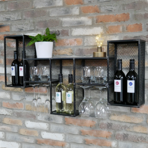 Black Rustic Industrial Cage Wall Mounted Wine Cabinet in Situ on a Brick Wall