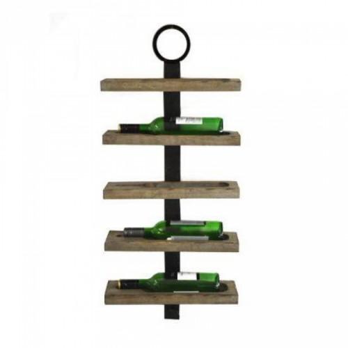 Industrial Five Bottle Wine Rack in Use