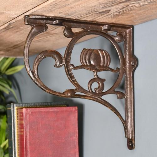 Iron Lotus Flower Shelf Bracket in Situ Holding up a Wooden shelf