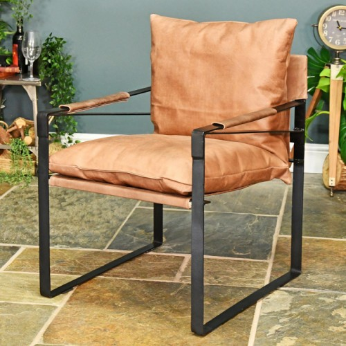Iron & Natural Brown Buffalo Leather Relax Chair in Situ