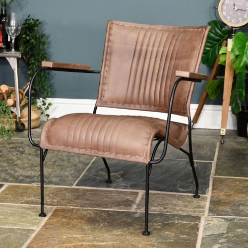 Iron & Natural Brown Buffalo Leather Relax Chair in Situ in a House