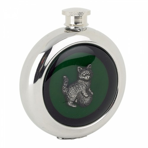 Whiskey Flask With a Kitten Design