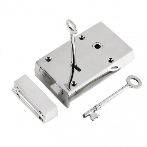 Right-Handed Large Bright Chrome Rim Lock