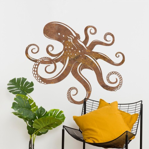 Octopus Rustic Wall Art in the Living Room