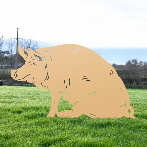 Tan Sitting Pig Silhouette